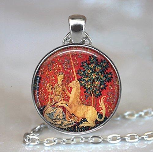 Lady und das Einhorn Anhänger, Einhorn Gobelin Anhänger, Einhorn Halskette, Renaissance Schmuck,...