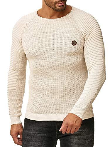 Redbridge Suéter de Punto Básica para Hombre de Cuello Redondo y Hombros Acanalado Beige