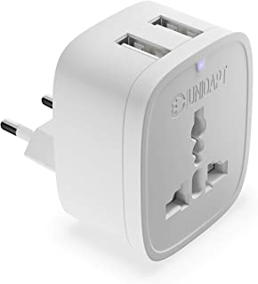 European Plug Adapter Power Charger, Unidapt USA American/AU/Asia/Canada to EU Europe Outlet Plug Adapter, European Travel Plug Adapter from USA US UK AU to EU Europe Italy (Type C)