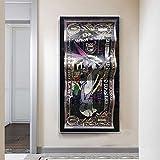 Billete de banco plisado negro Dinero Dibujos animados Conejo divertido Graffiti Póster Artístico e impresiones Lienzo Pintura Cuadro de pared Sala de estar dormitorio Oficina Decoración