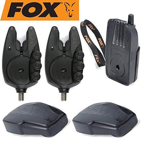 Fox Micron RX+ 2 Rod Set - 2 Bissanzeiger + 1 Receiver zum Karpfenangeln, Karpfenbissanzeiger für Karpfen, Funkbissanzeiger