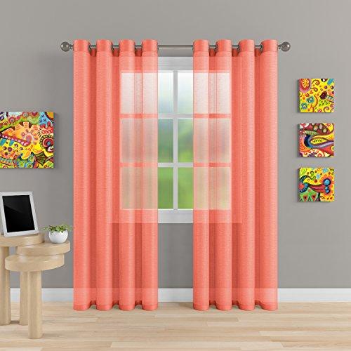 "MEMIAS Premium Window Sheer Elegant Voile Curtains with Grommets for All Rooms Decoration, 2 Panels, Each Panel, 54"" W x 63"" L, Orange Coral"
