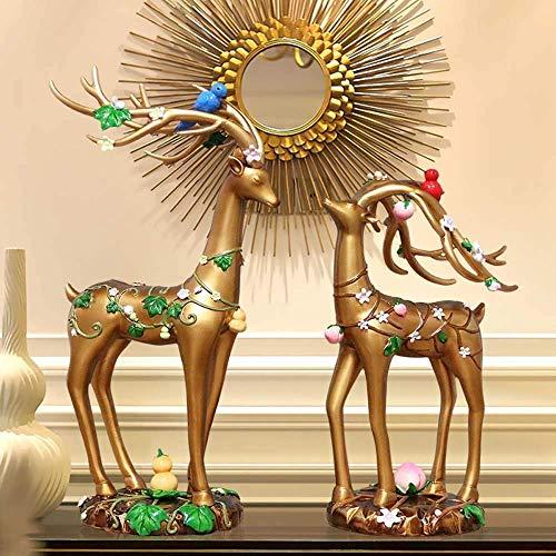 DSENIW QIDOFAN Crafts European-Style-Hauptlieferungs-Harz Ornamente Lovers Deer kreative Geschenke Crafts Ornamente Blumen Langlebigkeit Deer Ornament 19 * 13 * 36cm Stilvoll und schön