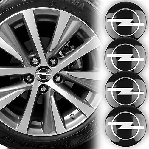 RJ Home 4 piezas de 56 mm para tapacubos de coche con emblema para Opel Astra H G J Insignia Mokka Zafira Corsa Vectra (tamaño: para Opel)