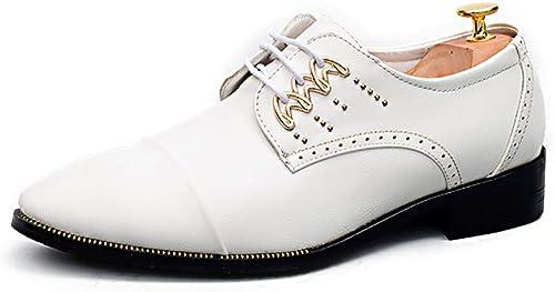 CHENDX Schuhe, Herrenmode Neue Casual Business Oxford Tragen Niedrige Farbe Hilft TIPP Der Britische Trend Formelle Schuhe (Farbe   Weiß, Größe   38 EU)
