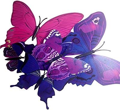 Nema NM 3D Butterfly Adhesive Wall Decoration Stickers - 12Pcs - Mixed Purple