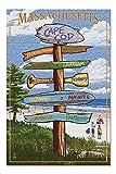 Cape Cod, Massachusetts - Sign Destinations (Premium 500 Piece Jigsaw Puzzle for Adults, 13x19)
