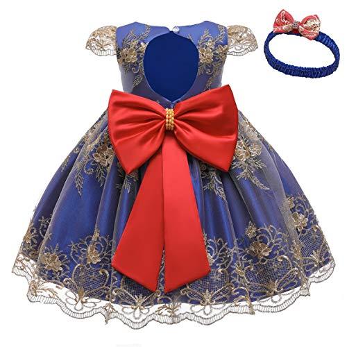 HOIZOSG Vestido de bautizo para niñas y bebés, cumpleaños, boda, fiesta, graduación, bordado, de encaje, bautismo, lazo, tutú, con sombrero - azul - 18-24 meses