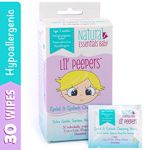 Natural Essentials Lil' Peepers Baby Eyelid & Eyelash Cleansing Wipes, 30 Count