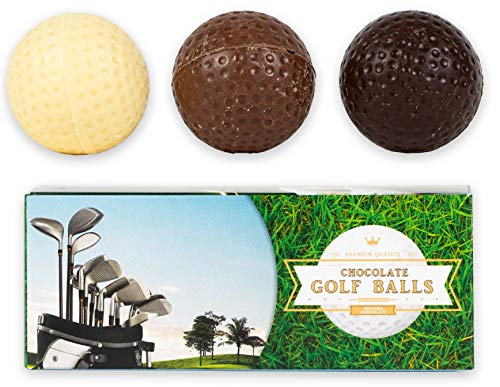 Golfbälle aus Schokolade - 3er Golf Geschenkset - Geschenkidee für Sportler und Golfer - 45g Schokolade - Vollmilchschokolade, Weiße- und Zartbitter Schokolade
