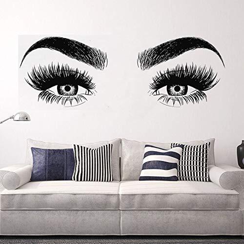 zhuziji Salon Art Vinilo Adhesivo de Pared Ojos pestañas niña Dormitorio calcomanía extraíble salón decoración del hogar Cartel 50x138cm
