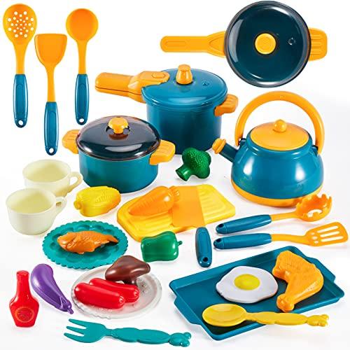 LINFUN KIDS Utensilios de Cocina Juguetes Accesorios Cocina Juguetes Alimentos Ollas y Sartenes de Juguete Regalo para Niños Niñas 3 4 5 Años