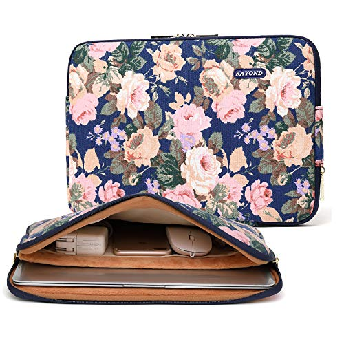 KAYOND Blue Camellia Water-resistant 14 inch Canvas laptop sleeve with pocket for 14 inch 14.1 inch laptop case Macbook Pro 15.4 A1707 A1990 (14-14.1 Inch, Blue Camellia)