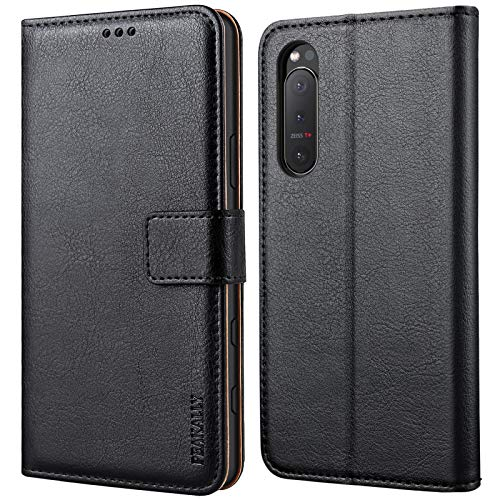 Peakally Handyhülle für Sony Xperia 5 II Hülle, Premium Leder Flip Hülle Tasche Schutzhülle Brieftasche Klapphülle [Kartenfächer] [Standfunktion] [Magnet] für Sony Xperia 5 II-Schwarz