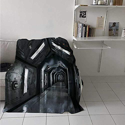 Bed Blanket Dark Futuristic Corridor of Spaceship Adventure Technology Sci Fi Art Prints Spring Summer Quilt/Throw Blanket Soft, Warm, Insulated, Pet-Friendly Dark Grey 70 x 90 Inch