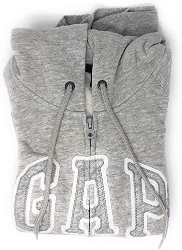 GAP Women's Full Zip Fleece Logo Hoodie (X-Large, Heather Grey)