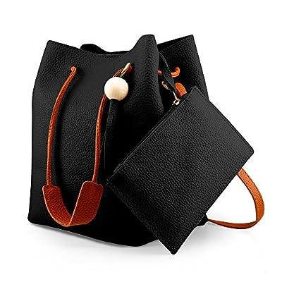 Oct17 Fashion Tassel buckets Tote Handbag, Women Messenger Hobos Shoulder Bags, Crossbody Satchel Bag - Black