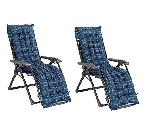WanJing Cojín grueso para tumbona de repuesto antideslizante para silla de jardín, patio, reclinable, para viajes, vacaciones, exterior, interior, 53 x 158 cm, 2 unidades, color azul