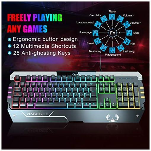 Teclado Gaming con ratón DE-Layout QWERTZ Gaming teclado y ratón blanco 6 ADJUSTABLE DPI-(600/800/1200/1600/2400/3200… 2
