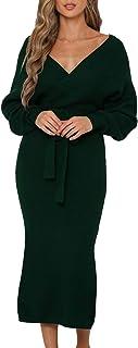 Fixmatti Women's Elegant V Neck Wrap Knit Dresses Batwing Sleeve Backless Slit Maxi Dress with Belted