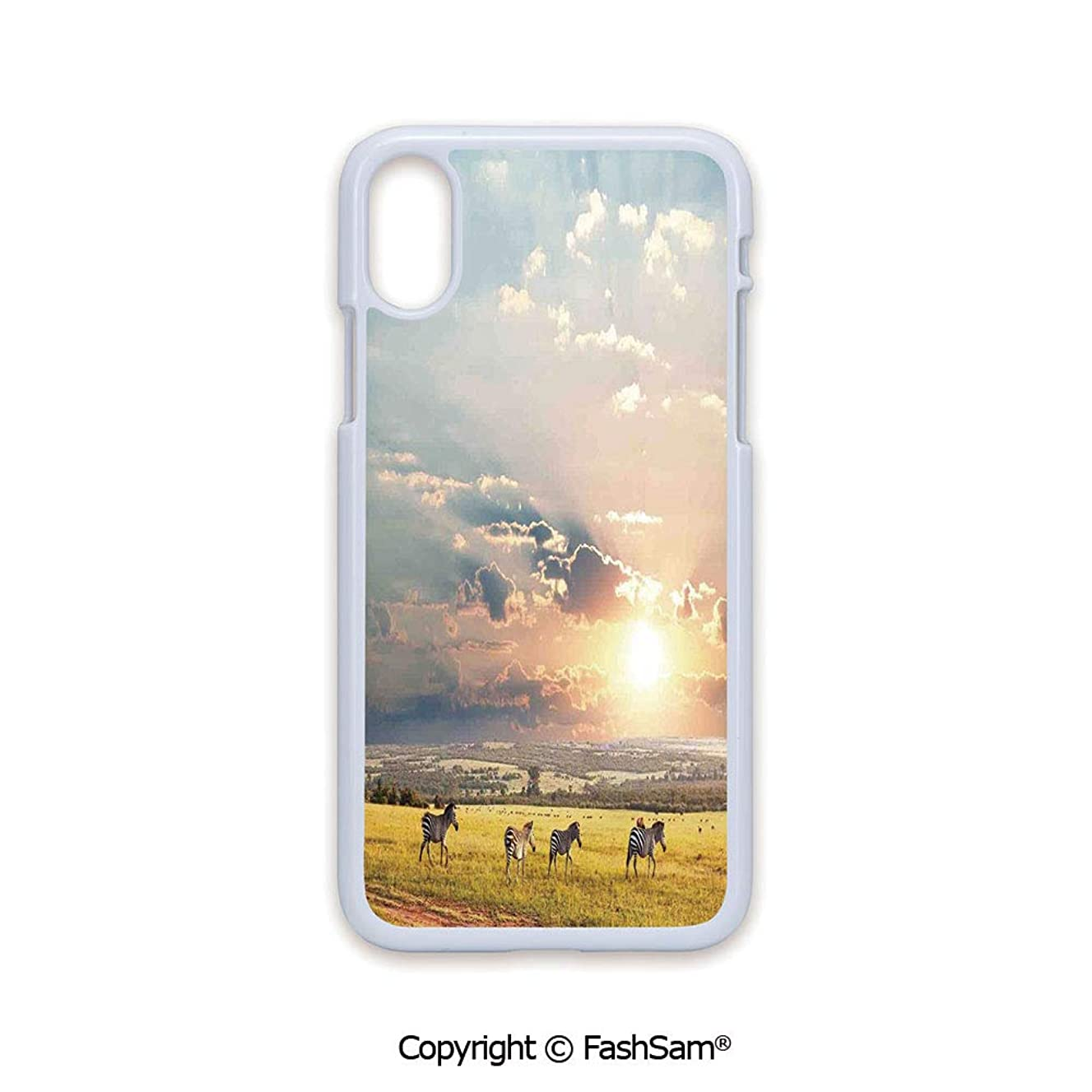 Plastic Rigid Mobile Phone case Compatible with iPhone X Black Edge Zebras Africa Exotic Wildland Natural Distant Forest Morning View Scenic Picture Print 2D Print Hard Plastic Phone Case