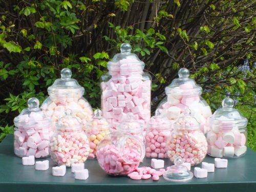 Barattoli in plastica per feste, dimensioni varie; ogni barattolo viene fornito in dotazione col relativo coperchio, confezione da 12 pezzi