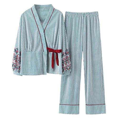 Pijamas japonesas Ropa de hogar de algodón de Manga Larga para Mujeres, Tops + Pantalones, 01