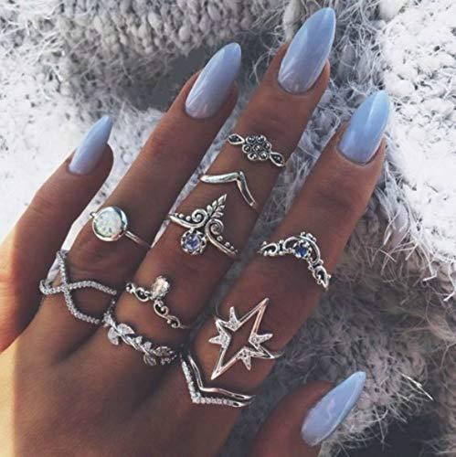 Vakkery Boho - Juego de anillos para nudillos, diseño vintage de plata con cristales apilables, para mujeres y niñas