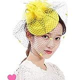 ヘアアクセサリー ヴィンテージヘッドドレスメッシュヘッドフラワーハットトップヘアアクセサリーヘッドジュエリー女性ショーステージベールブライダルジュエリー 多種多様でいろんな場面で使えます (Color : Yellow, Size : Free size)