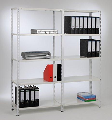 Grund- und 1 Anbauregale 180x150x30 cm, 10 Böden, 40kg, weiß, Marke: Szagato (Kellerregal Lagerregal Büroregal Schraubregal)