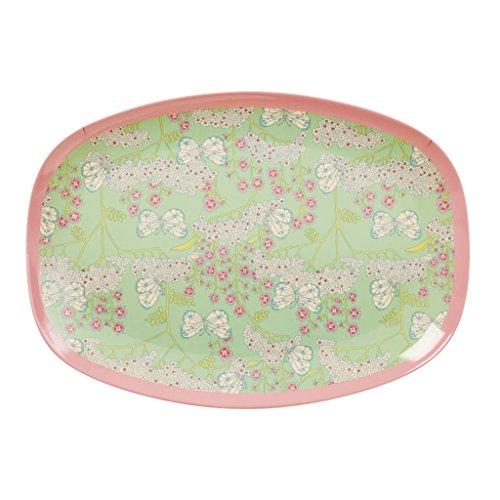 Rice DK Teller aus Melamin, rechteckig, mit Schmetterlings- und Blumendruck