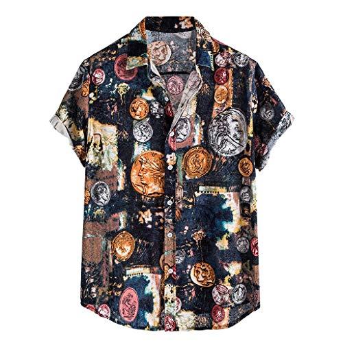 Realde Herren Kurzarm T-Shirt Sommer Gelb Leopardenmuster Lose Fit Top Moderner Hemdkragen Freizeithemd Bluse Männer Atmungsaktiv Bequem Oberteil Größe M-5XL