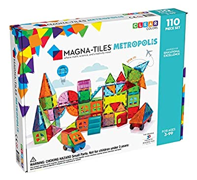 Magna Tiles Metropolis 110Piece Set, The Original, Award-Winning Magnetic Building Tiles for Kids, Creativity & Educational Building Toys for Children, Stem Approved (B07WDDB59W)