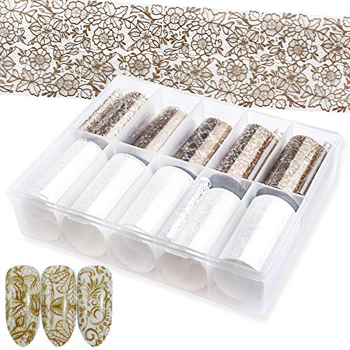 SILPECWEE 10 Rolls Gold Foil Nail Art Wraps Stickers Tips Lace Starry Sky Nail Transfer Decals Manicure Accessories (1.57inches×39.4inches)