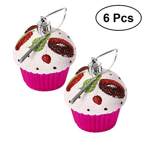 Ornamenti per natale WINOMO Ciondoli e Pendenti a forma di cupcake per Albero di natale in Roso 6PCS