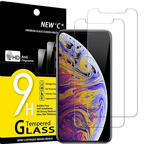 """NEW'C 2 Pezzi, Vetro Temperato Compatibile con iPhone 11 PRO Max e iPhone XS Max (6.5""""), Pellicola Prottetiva Anti Graffio, Anti-Impronte, Durezza 9H, 0,33mm Ultra Trasparente, Ultra Resistente"""
