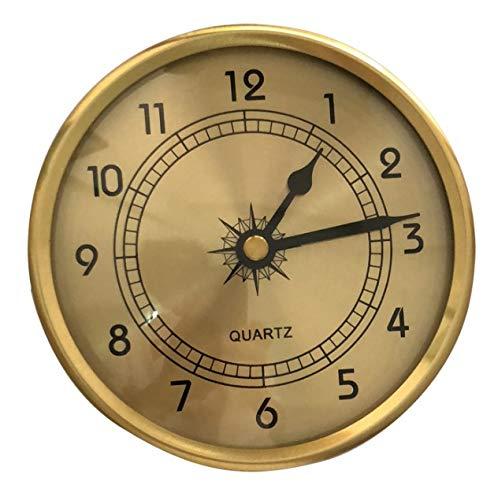 Aobay Nuevo Reloj de la Tabla de Arte de la Vendimia de 90 mm con Reloj de iluminación Reloj de Escritorio Embedded Gold Silver Redondo Dial Analogía Reloj de antigüedades (Color : Oro)