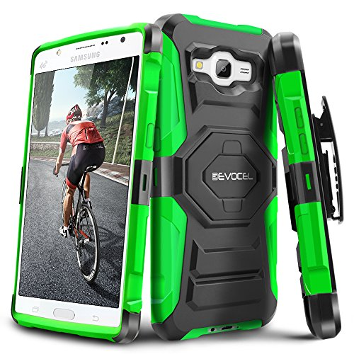 Galaxy J7 (2015) Case, Evocel [New Generation Series] Belt Clip Holster, Kickstand, Dual Layer for Samsung Galaxy J7 (Model No J700), Green (EVO-SAMJ7-XX12)