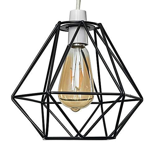 Moderna Pantalla Lampara Techo - Estilo Jaula Geométrica Colgante - Metal Negro - Iluminación Interior