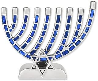 Menorah Blue Jeweled Mosaic Aluminum With Star Of David For Hanukkah