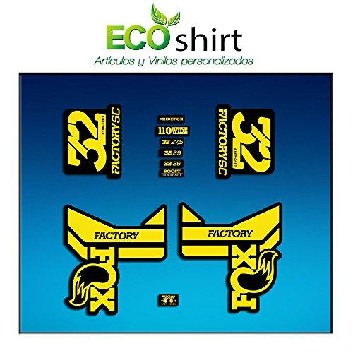 Ecoshirt 8K-T27R-ENVY Aufkleber Fork Fox 32 Factory SC Float 2017 Am87 Aufkleber Decals Sticker Gabel Gabel Gelb