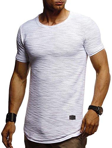 Leif Nelson Herren Sommer T-Shirt Rundhals-Ausschnitt Slim Fit Baumwolle-Anteil Moderner Männer T-Shirt Crew Neck Hoodie-Sweatshirt Kurzarm lang LN8223 Grau Large