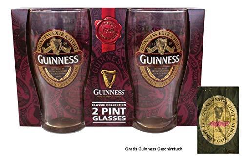 McLaughlin's Irish Shop Guinness glazen set speciale editie voor verzamelaars en gratis vaatdoek