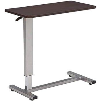 ベッドテーブル サイドテーブル 介護テーブル 昇降サイドテーブル 介護支援 電動ベッド用 昇降式 DW-1320 360°回転 キャスター付 移動式 多目的 (ダークブラウン)