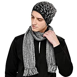 VR Designers Set of Two Exclusive Handloom Grey Scarf with Matching Cap for Men and Women