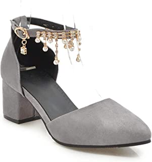 BalaMasa Womens ASL06694 Leather Block Heels