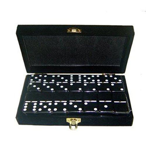 Marion Domino Double 6 Black Jumbo Tournament Professional Size w/Spinners in Elegant Black Velvet Box