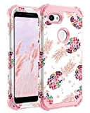 Lontect for Google Pixel 3a XL Case Floral 3 in 1 Heavy Duty Hybrid Sturdy High Impact Shockproof Protective Cover Case for Google Pixel 3a XL 2019, Pineapple/Rose Gold