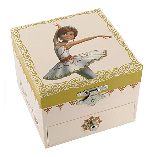 """Caja de música para joyas / joyero musical de madera con bailarina animada y decoración \""""Félicie\"""", la pequeña bailarina del dibujo animado \""""Ballerina\"""" - El lago de los cisnes (P. I. Chaikovski)"""