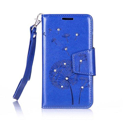 lenovo A2010 Hülle Coozon Flip Hülle mit lebenslanger Garantie Kartenfächern & Standfunktion Cover Wallet fürlenovo A2010 (4,5 Zoll) Löwenzahn blau
